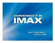 October 2, 2008 - What Teens Want