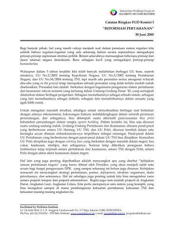 """Catatan Ringkas FGD Komisi I """"REFORMASI ... - ProPatria"""