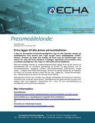 Echa lägger till åtta ämnen på kandidatlistan Mer information: - Europa