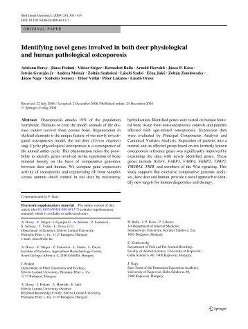 Identifying novel genes involved in both deer ... - IngentaConnect