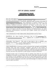 Performance Bond form - City of Lenexa