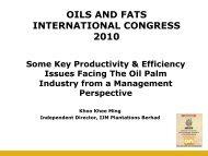 OILS AND FATS INTERNATIONAL CONGRESS 2010 - MOSTA
