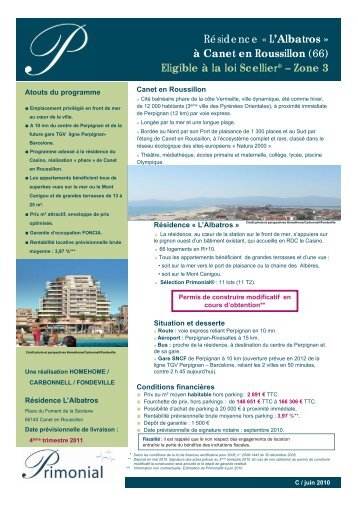 L'Albatros » à Canet en Roussillon - Primonial Immobilier