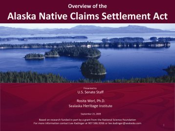 Alaska Native Claims Settlement Act - Sealaska Heritage Institute