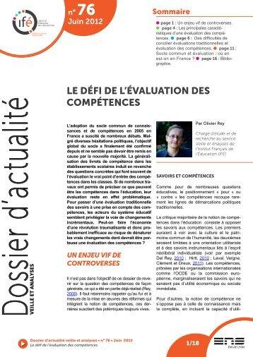 LE DÉFI DE L'ÉVALUATION DES COMPÉTENCES - Institut français ...