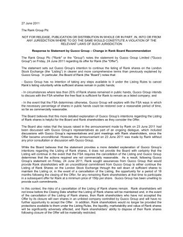 27 June 2011 The Rank Group Plc NOT FOR RELEASE ...