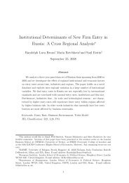 Institutional Determinants of New Firm Entry in Russia: A ... - LSE