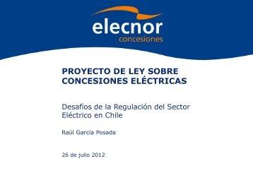 PROYECTO DE LEY SOBRE CONCESIONES ELÉCTRICAS