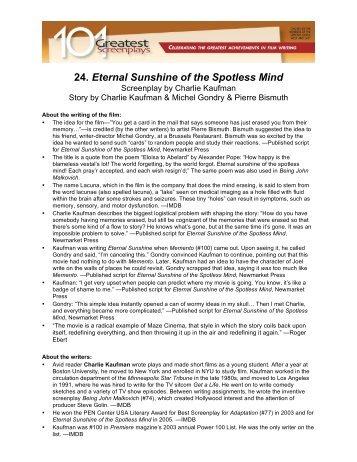 Eternal Sunshine Of The Spotless Mind Script Secrets Awesome Morni To True Love Sunshine