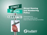 Street Naming and Numbering Policy - City of Greater Sudbury