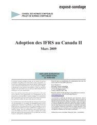 Adoption des IFRS au Canada II - Normes d'information financière et ...