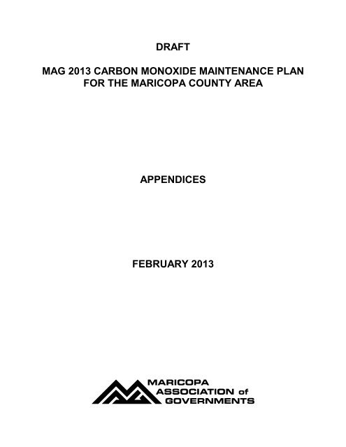 draft mag 2013 carbon monoxide maintenance plan for the ...