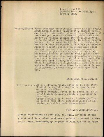 G o r o p e č^ Podružnična c.sv.Nikolaja. Župnija Ihan. Notranjščina ...