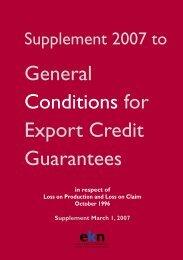 General Conditions for Export Credit Guarantees - EKN