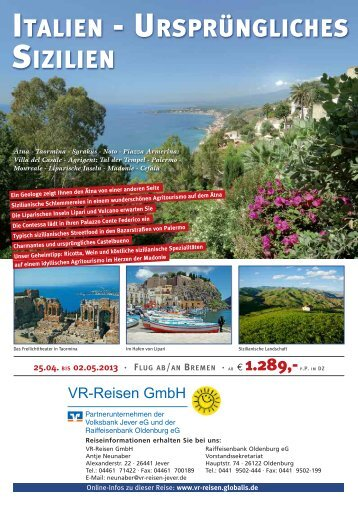 Flug nach Sizilien - VR-Reisen GmbH