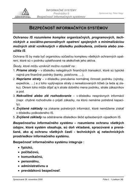 bezpečnosť informačných systémov - Hornad