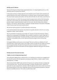 Briefing notes for Minister - EU EDUCATION SWAp Project