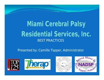 Miami Cerebral Palsy Residential Services, Inc. - 2012 Reinventing ...