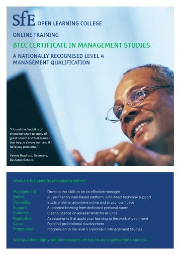 BTEC CERTIFICATE IN MANAGEMENT STUDIES - SfE