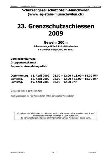 Schiessplan - SG Stein-Münchwilen