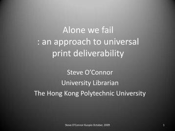 an approach to universal print deliverability - Varastokirjasto