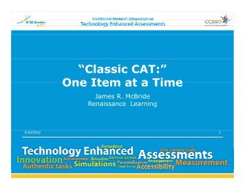 """Classic CAT:"" One Item at a Time - The K-12 Center at ETS"