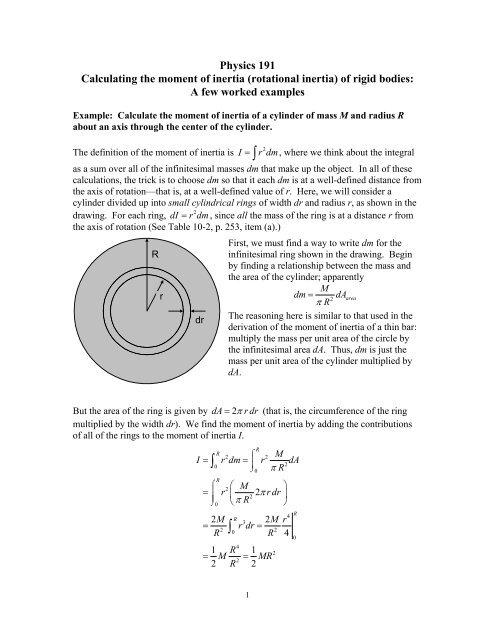 Moments of Inertia: Examples - Employees Csbsju