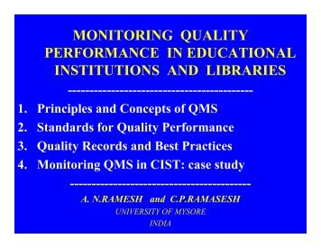 monitoring quality performance in educational institutions and libraries