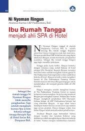 Ibu Rumah Tangga menjadi ahli SPA di Hotel