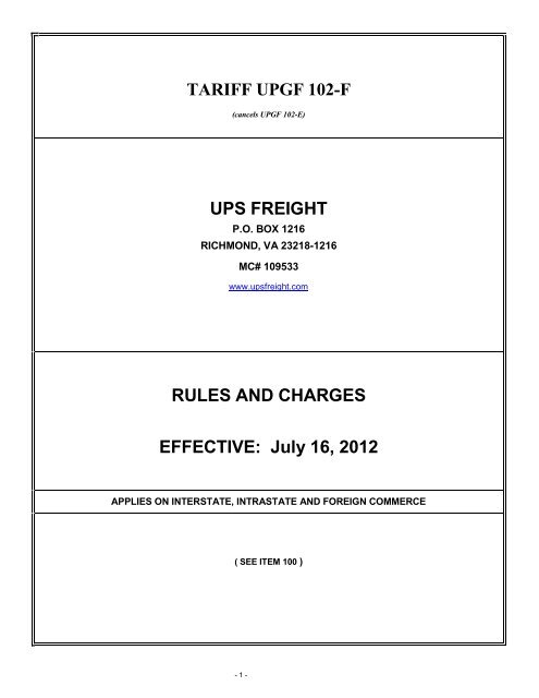 TARIFF UPGF 102-F UPS FREIGHT RULES AND CHARGES