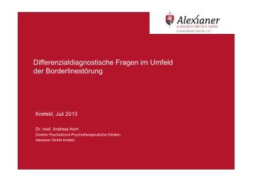 Differenzialdiagnostische Fragen (Dr. Horn) - BLP-Symposien