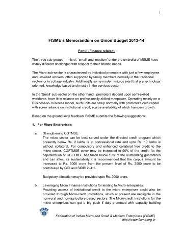 FISME's Memorandum on Union Budget 2013-14 - Federation of ...