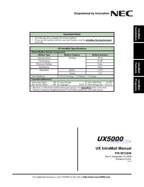 UX IntraMail Manual - NEC UX5000