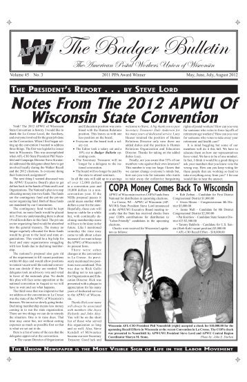 May/August - American Postal Workers Union of Wisconsin AFL-CIO