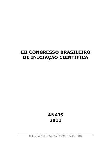 iii congresso brasileiro de iniciação científica anais 2011 - Unisanta