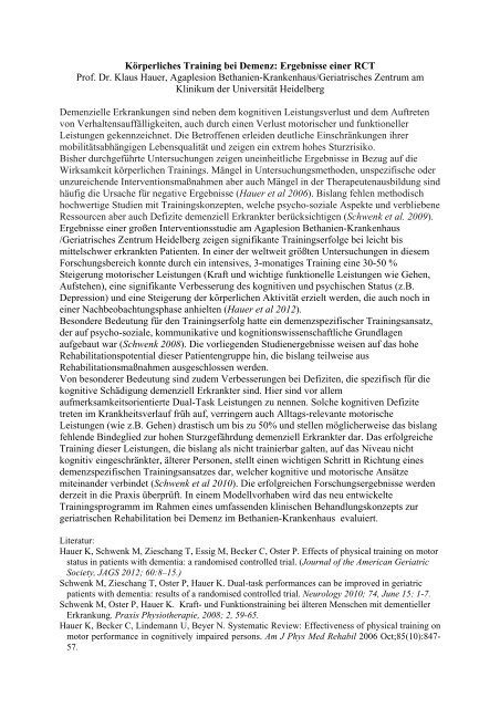 Ergebnisse einer RCT Prof. Dr. Klaus Hauer, Agaplesion Bethanien ...