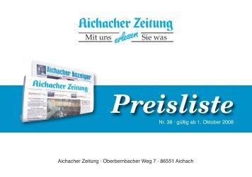 Preisliste - Aichacher Zeitung