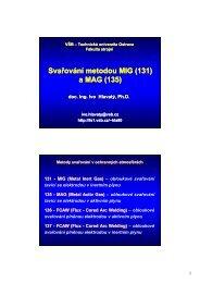 Svařování metodou Svařování metodou MIG (131) a MAG (135)