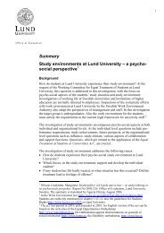 Summary Study environments at Lund University ... - Lunds universitet