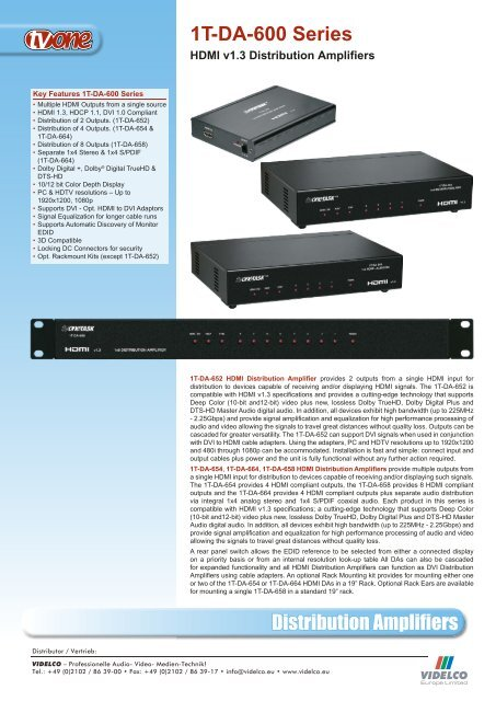 Distribution Amplifiers 1T-DA-600 Series - VIDELCO