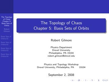 Basis Sets of Orbits - Department of Physics - Drexel University
