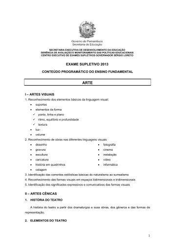 01) ARTE - Ensino Fundamental - Secretaria de Educação de ...