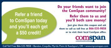 Refer-a-friend Coupon front - Comspan Communications