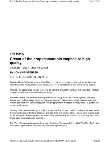 Cream-of-the-crop restaurants emphasize high ... - Handke's Cuisine