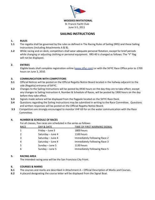 SAILING INSTRUCTIONS - San Francisco Bay Folkboat Association