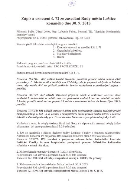 Zápis a usnesení RM č. 72 ze dne 30.9.2013 - Loštice