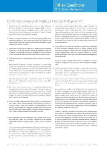 Conditions générales de vente - Triflex