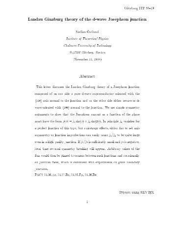 Landau Ginzburg theory of the d-wave Josephson junction