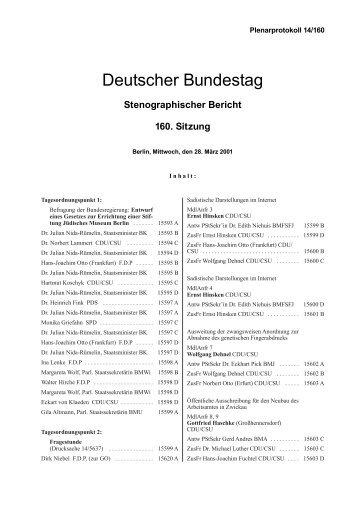 Stenographischer Bericht 160. Sitzung - Deutscher Bundestag