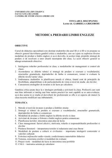 METODICA PREDARII LIMBII ENGLEZE - Universitatea din Craiova